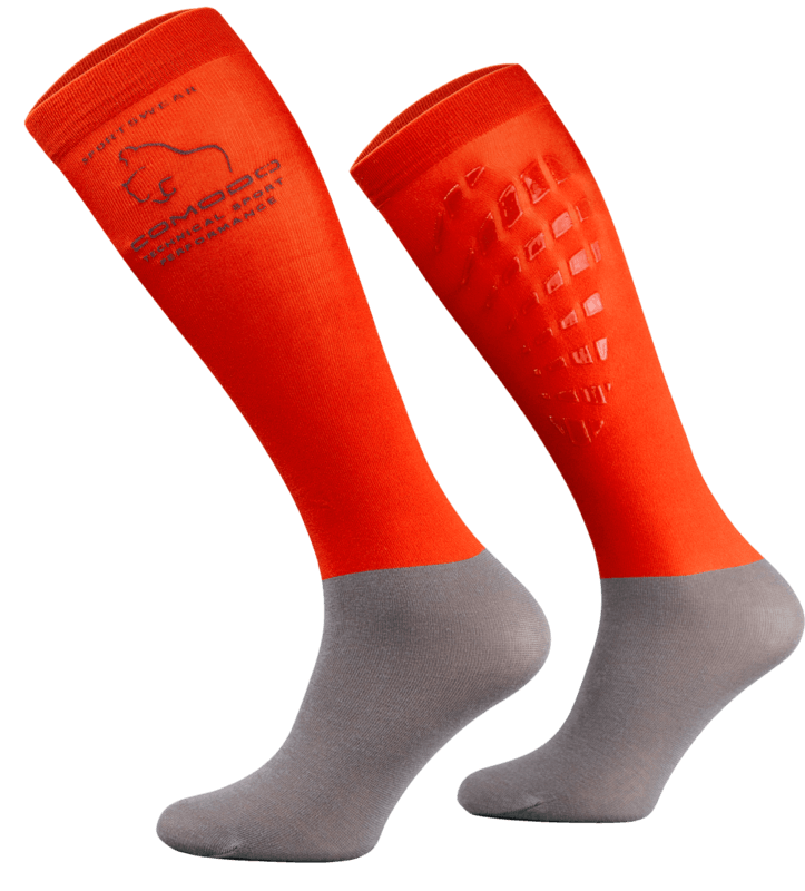 Red Neon and Grey Technical Riding Socks