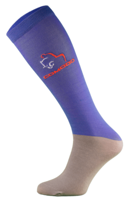 Royal Blue and Grey Microfibre Riding Socks