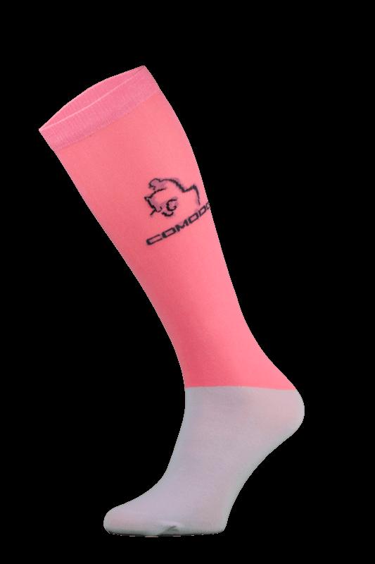 Salmon Pink and Grey Microfibre Riding Socks