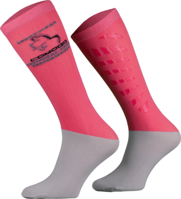 Salmon Pink and Grey Technical Riding Socks