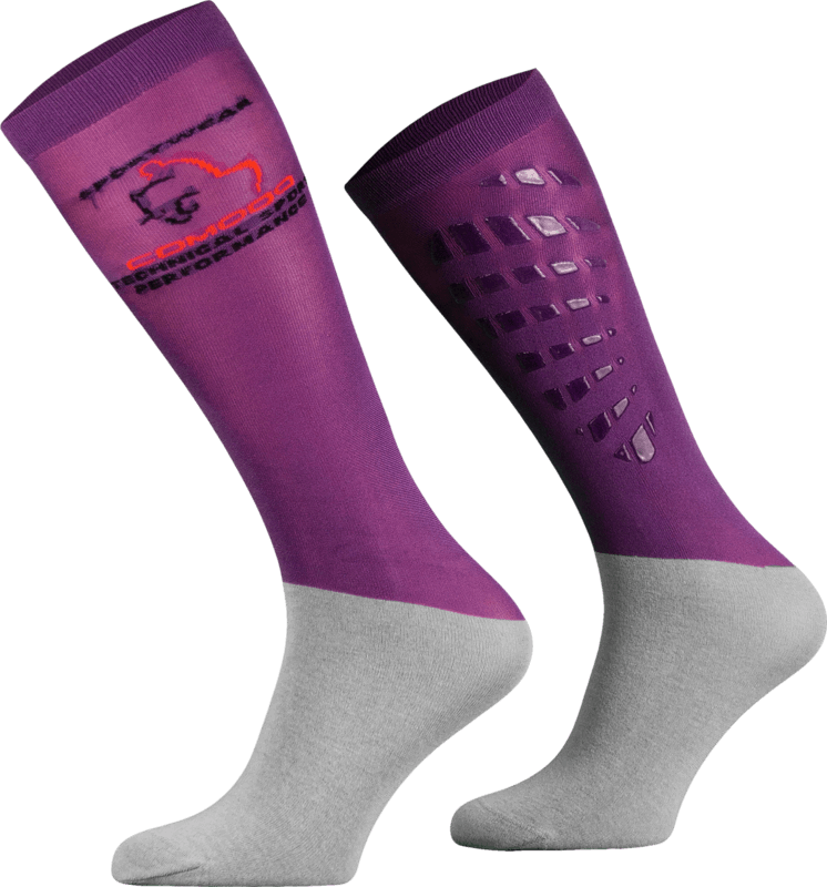 Violet and Grey Technical Riding Socks