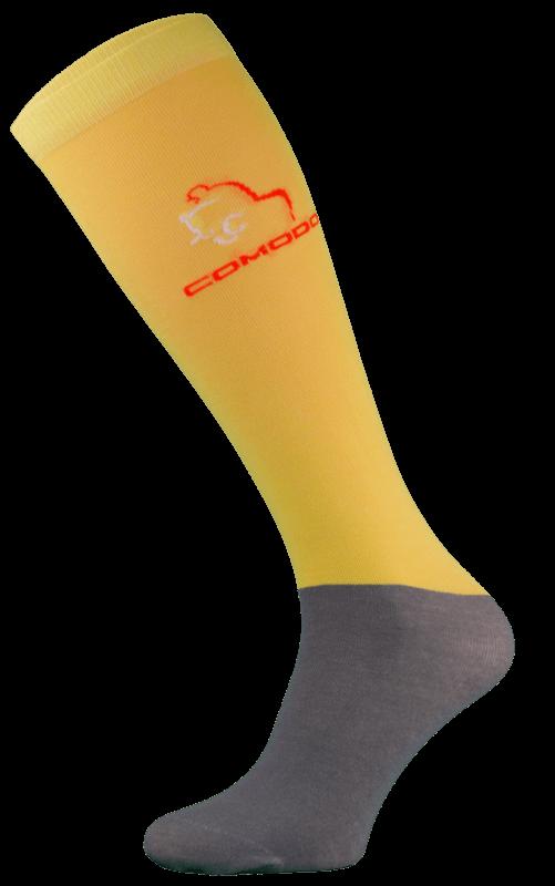 Yellow and Grey Microfibre Riding Socks