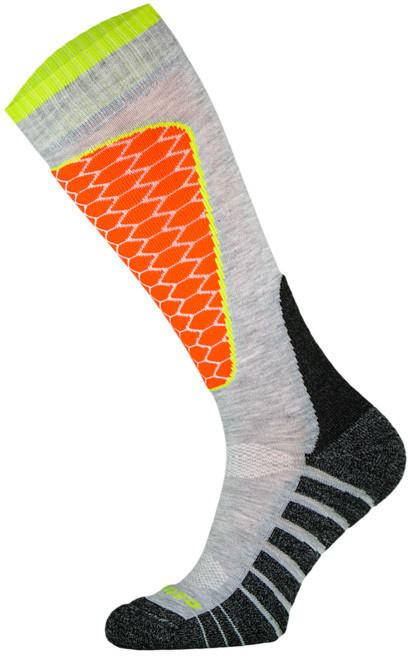 Grey and Orange Performance Ski Socks