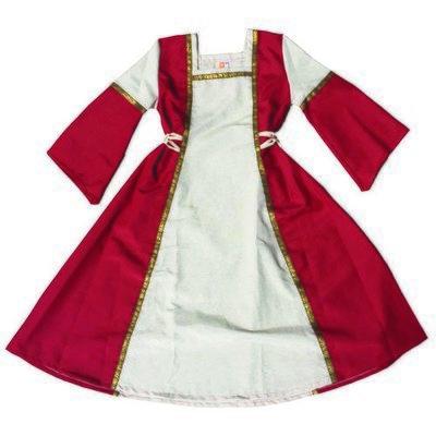Robe fille rouge / écru