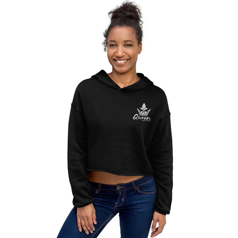 "Bluez Animal Embroidered ""Queen"" Crop Hoodie"