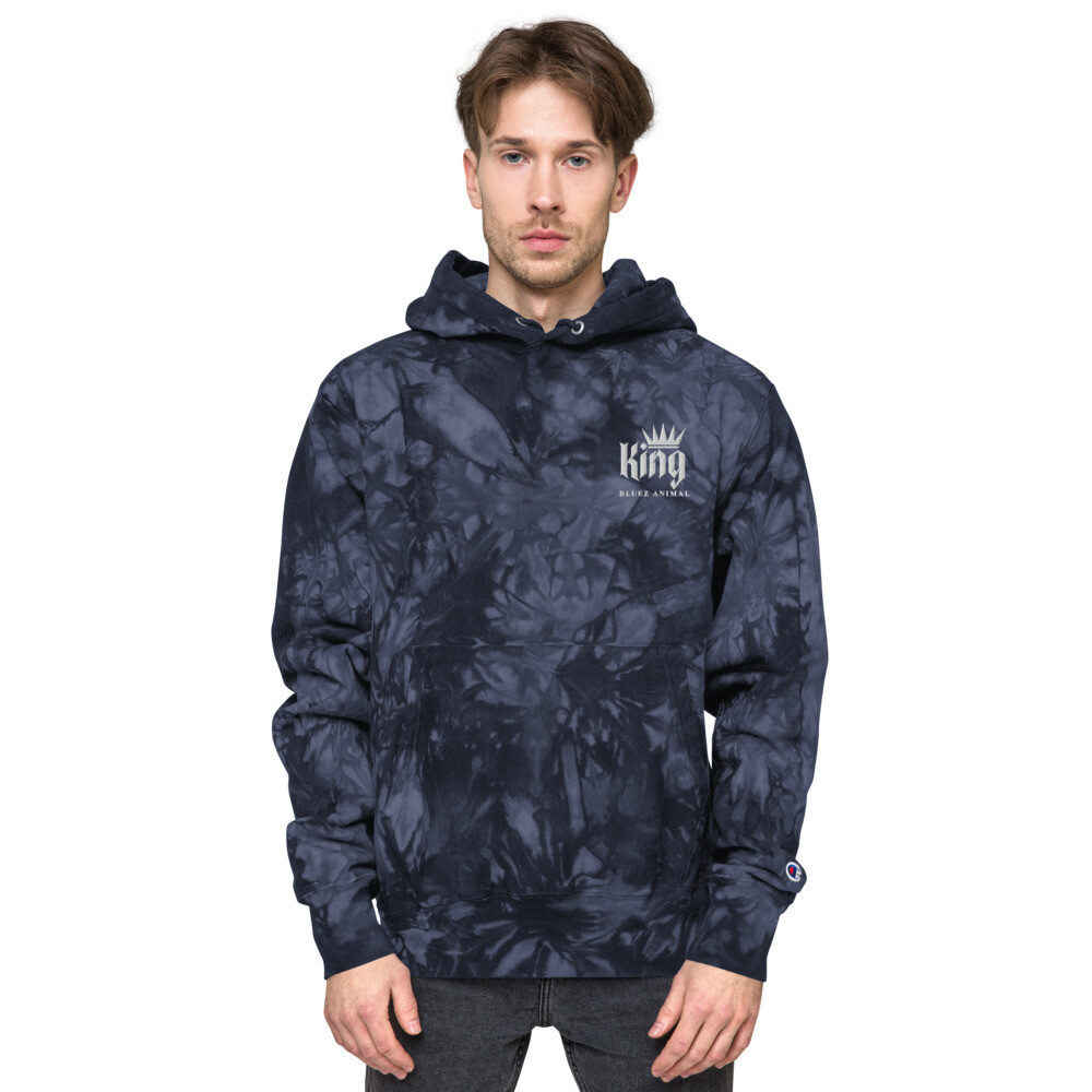 King Embroidered Champion tie-dye hoodie