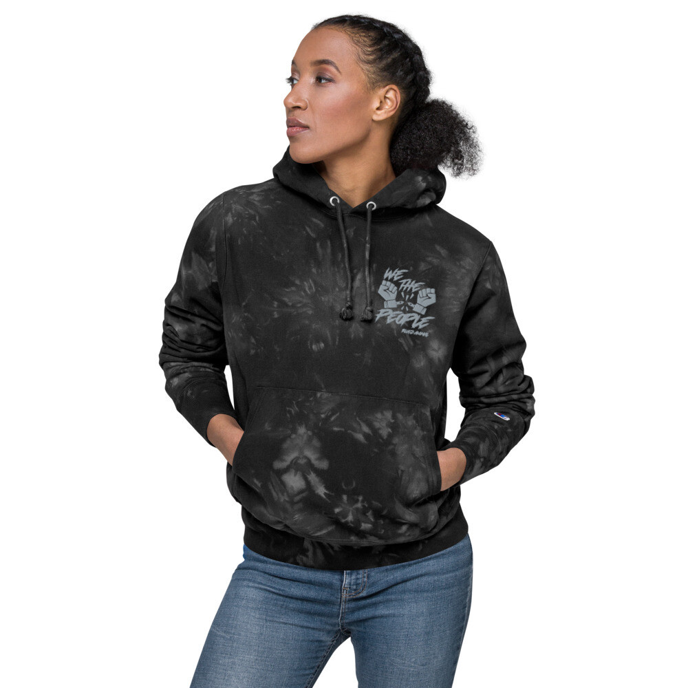 Embroidered We The People  Unisex Champion tie-dye hoodie