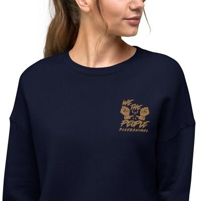 We The People Embroidered Crop Sweatshirt