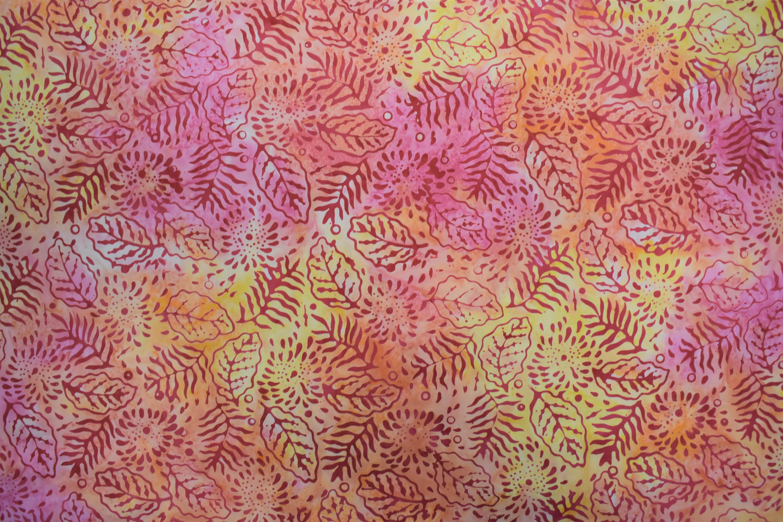 Yellow & Pink Leaves Batik - 1/2m cut LKU1V53G