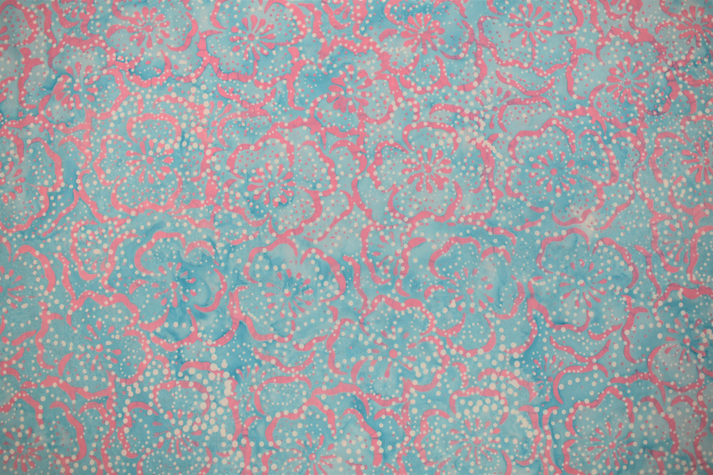 Blue & Pink Flowers Batik - 1/2m cut C9WKWTRT