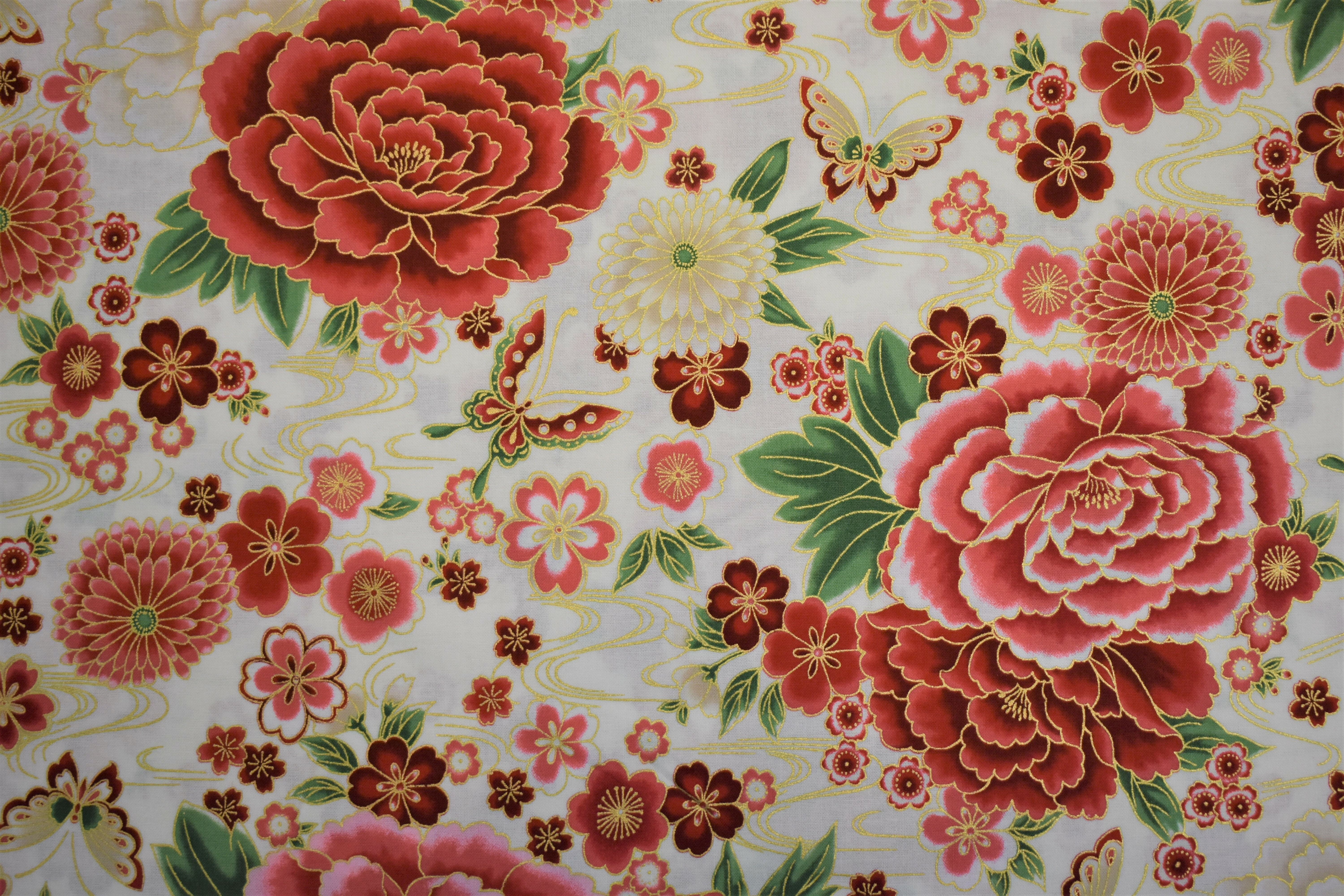 Imperial Collection - Red Flowers - Robert Kaufman - 1/2m cut 55008