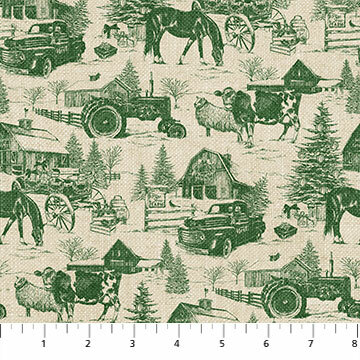Vintage Christmas - Vintage Green Toile - 1/2m cut 55783