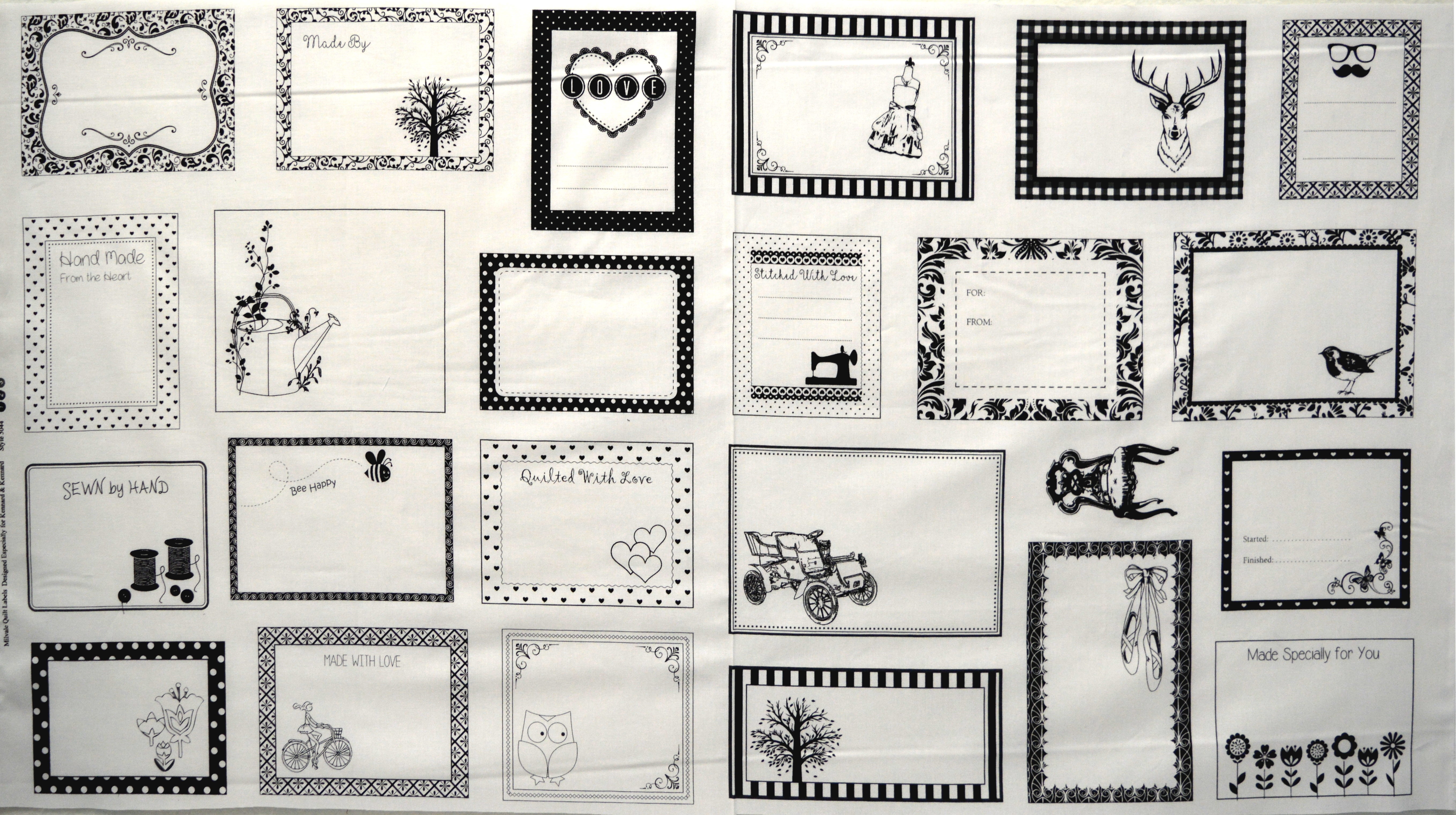 Quilting Labels - Black and White 55812
