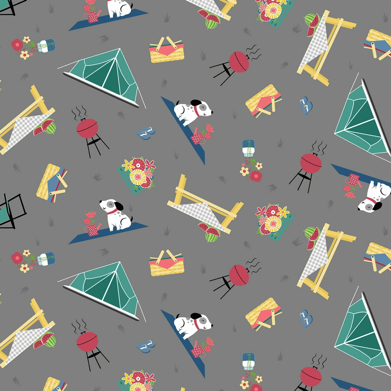 Grey Camping - Adventure Time by Wilmington Fabrics - 1/2m cut 55821