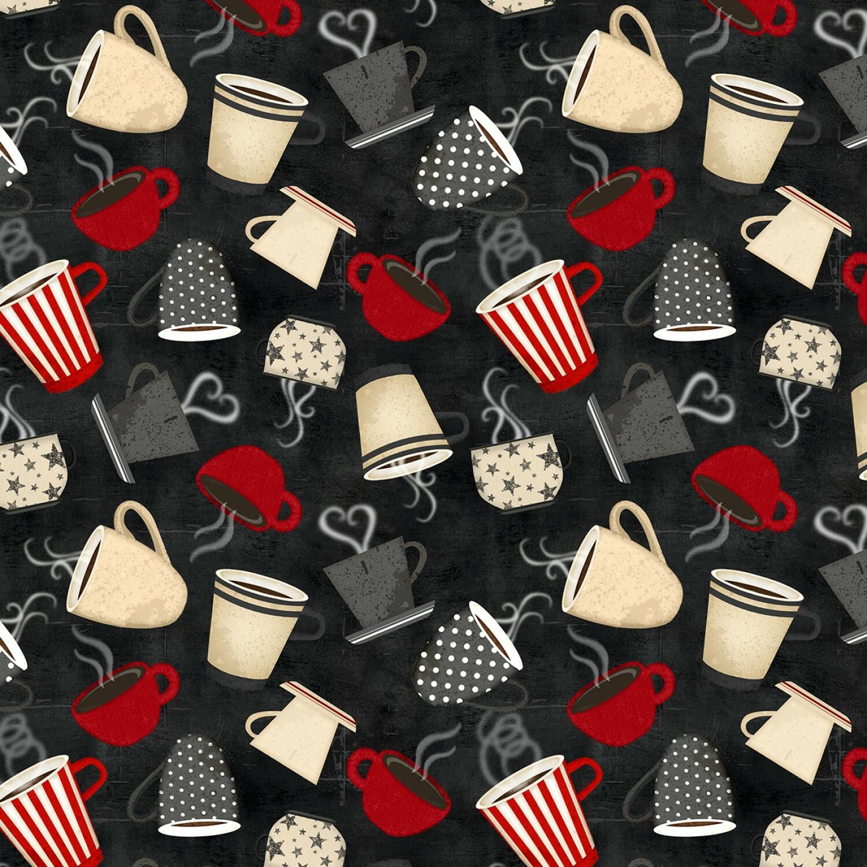 Coffee Cups - Coffee Time by Wilmington Fabrics - 1/2m cut 55886