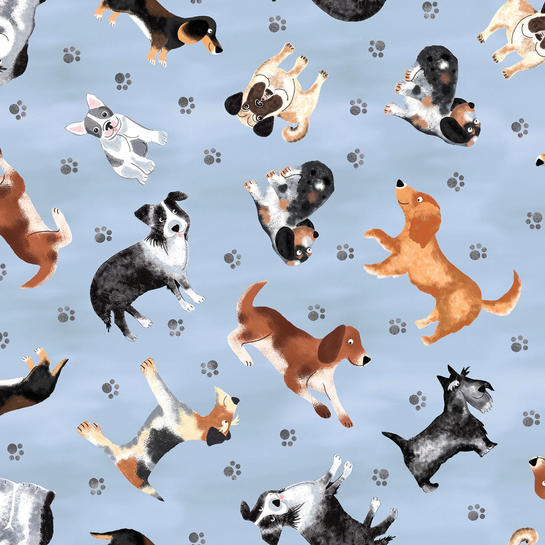 Blue Dog Print - 1/2m cut 55909