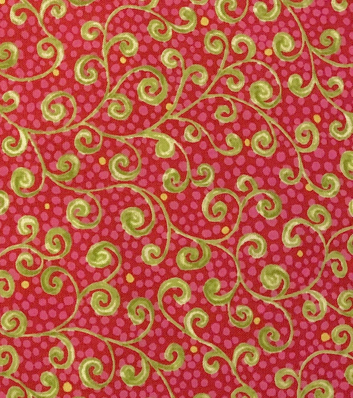 Green Swirls on Bright Pink - 1/2m cut 55920