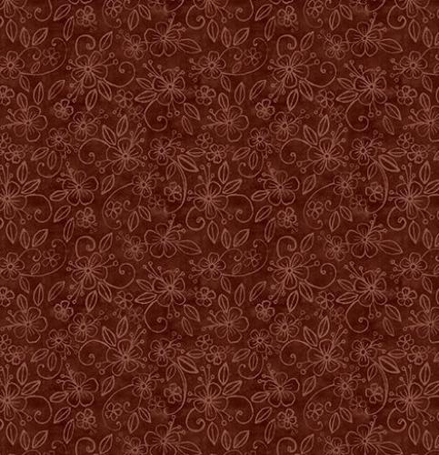 Chocolate Flowers - Cuppa Cocoa by Wilmington Fabrics - 1/2m cut 55952