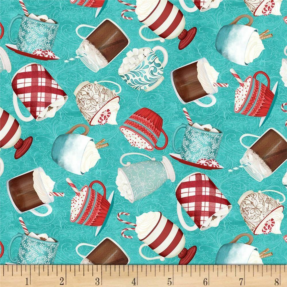 Teal Mugs - Cuppa Cocoa by Wilmington Fabrics - 1/2m cut 55955