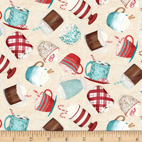 CreamMugs - Cuppa Cocoa by Wilmington Fabrics - 1/2m cut 55956