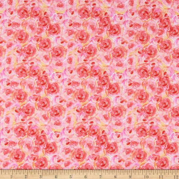 Pink Roses - Bloom True by Wilmington Fabrics - 1/2m cut 55972