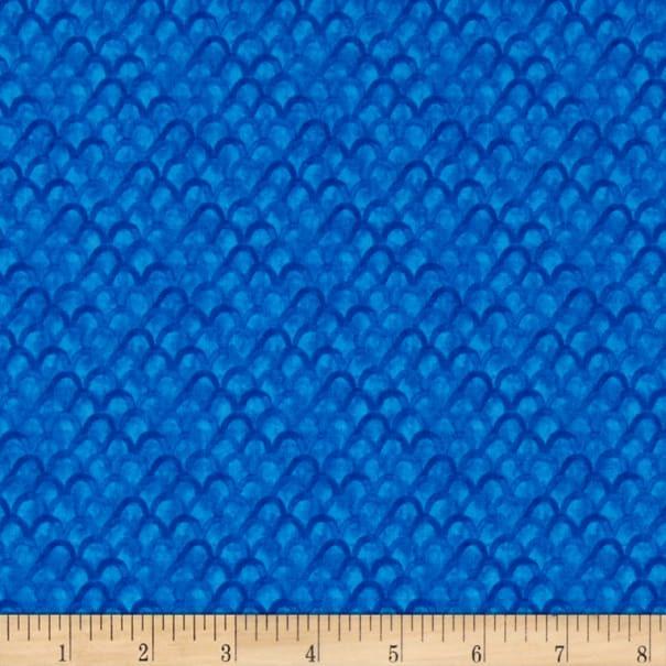 Blue Scallops - Bloom True by Wilmington Fabrics - 1/2m cut 55976