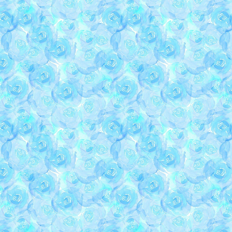 Aqua Roses - Bloom True by Wilmington Fabrics - 1/2m cut 55971