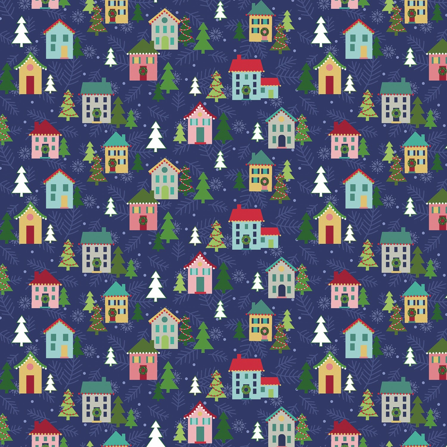 Navy Christmas Village - Better Not Pout - 1/2m cut 55985