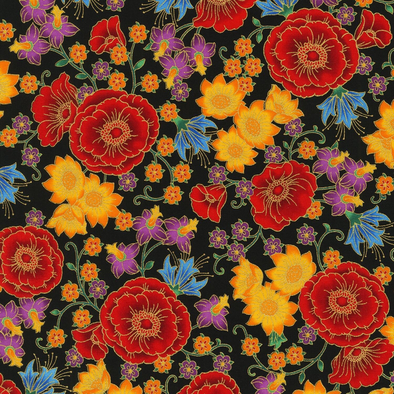 Black Floral - Florentine - 1/2m cut 55990