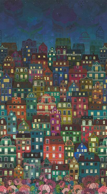 Happy Place - Night Houses - 1/2m cut 56006