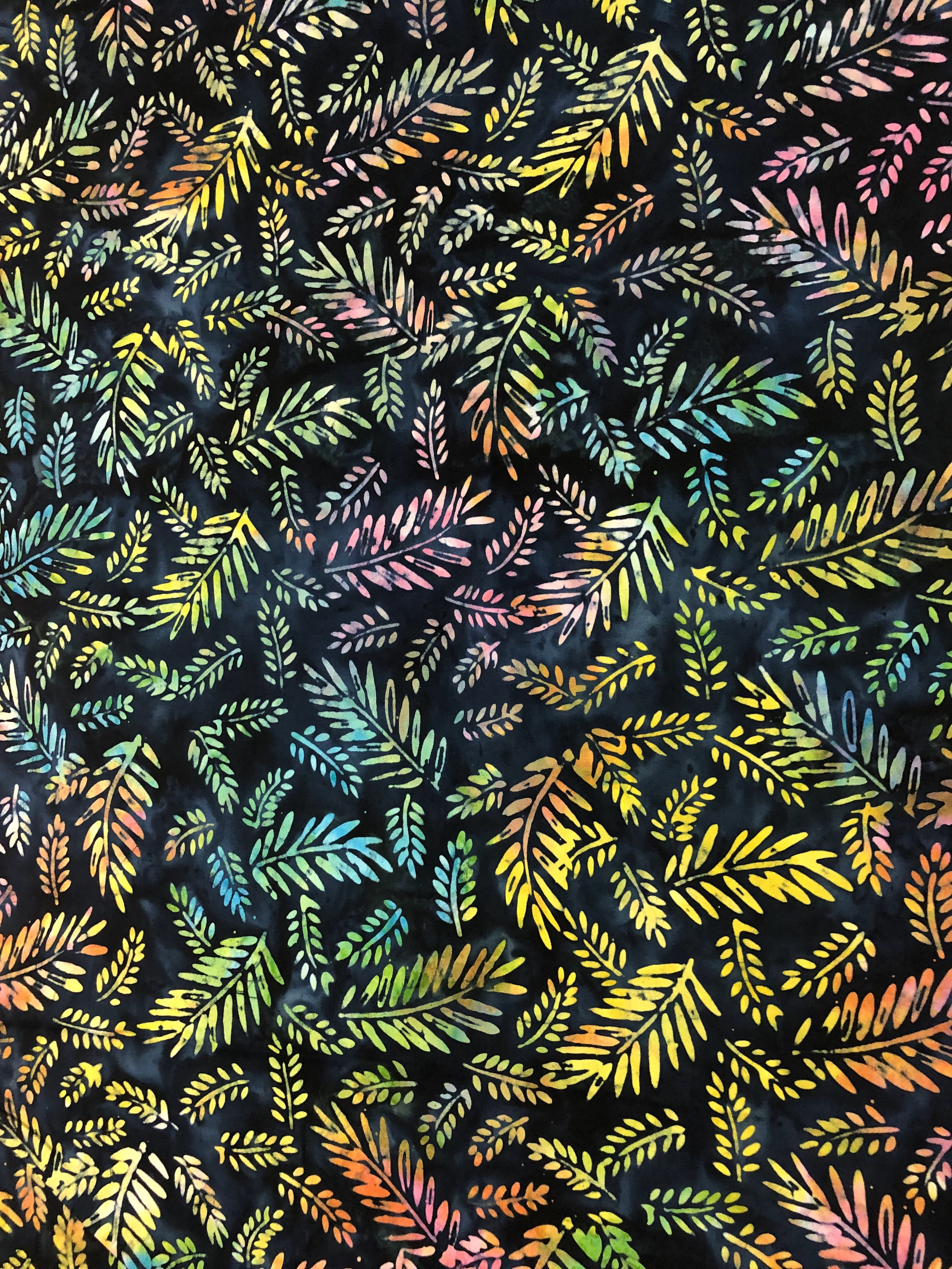 Multi Coloured Leaves - Neutrinos - Batik - 1/2m cut 56057