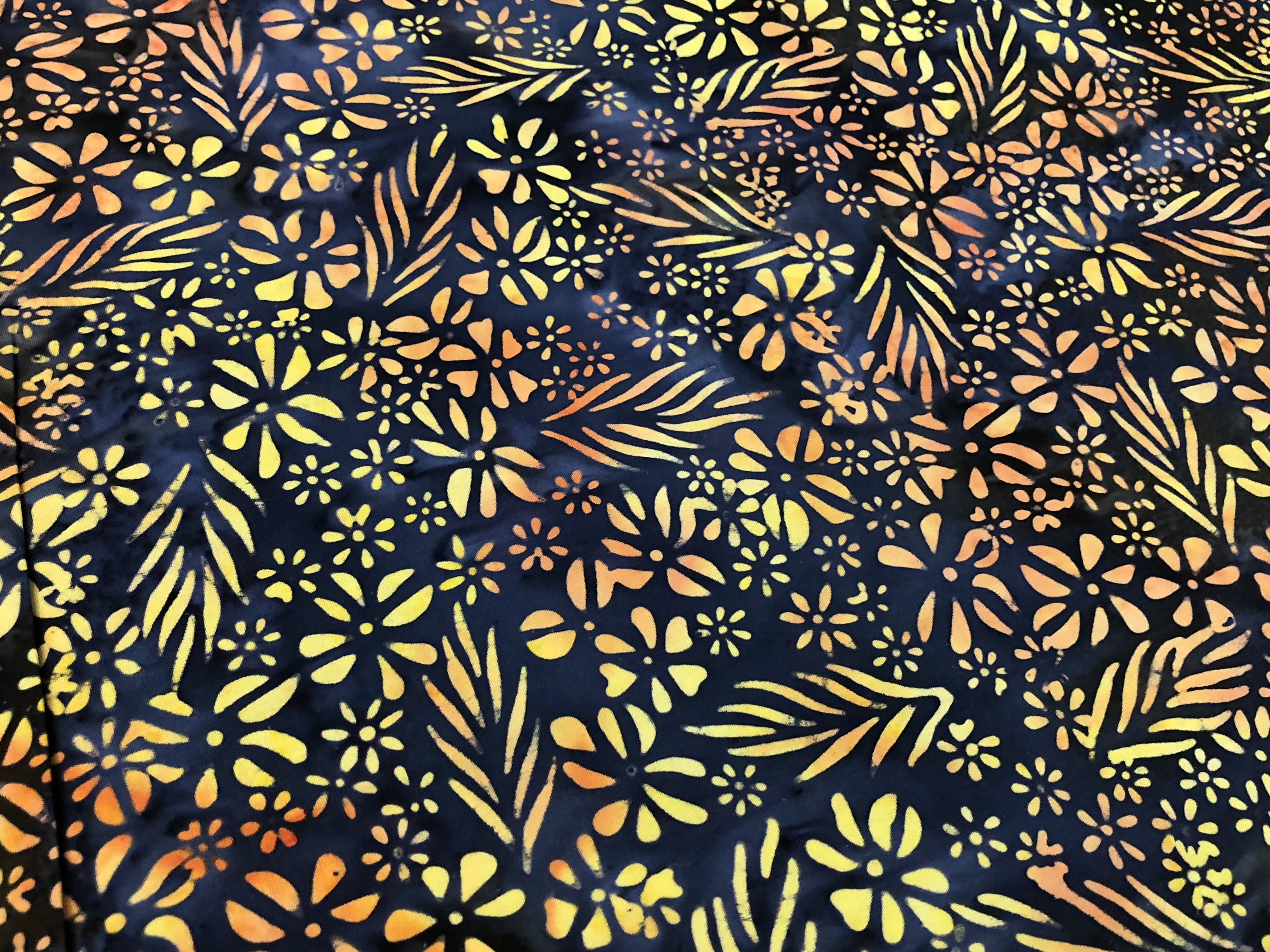 Yellow and Orange - Rock Flower - Batik - 1/2m cut 56079