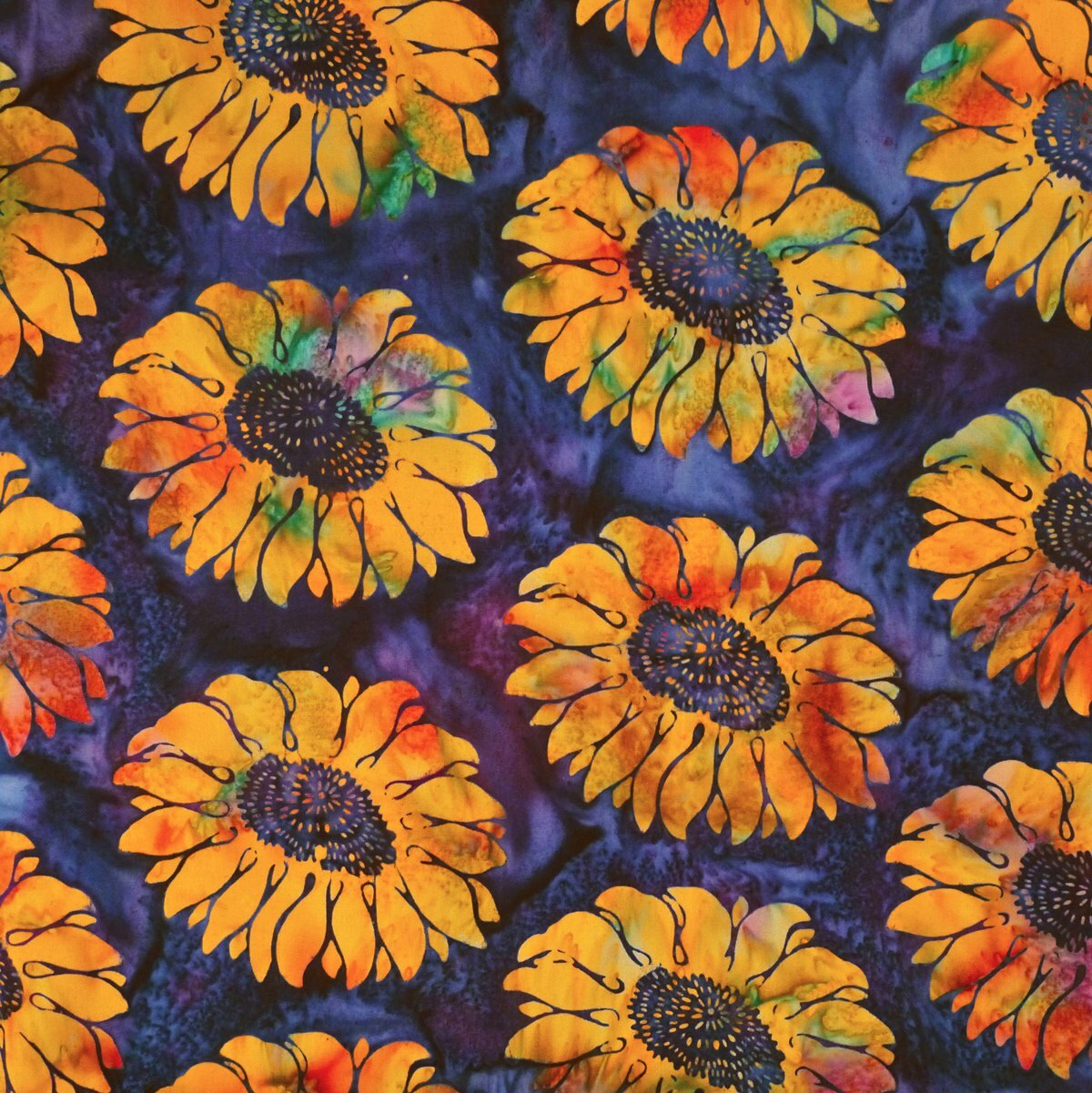 Sunflowers - Violet Fugue - Batik - 1/2m cut 56201