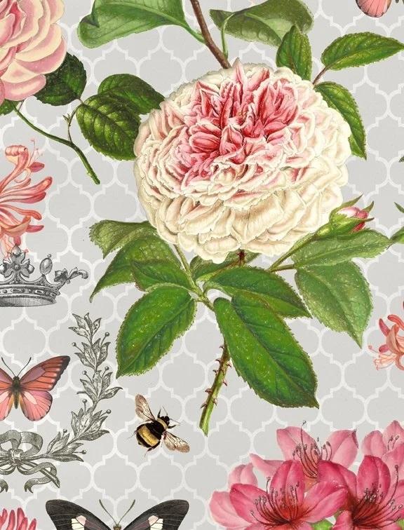 Le Bouquet - Grey - Wilmington Fabrics- 1/2m cut 56375