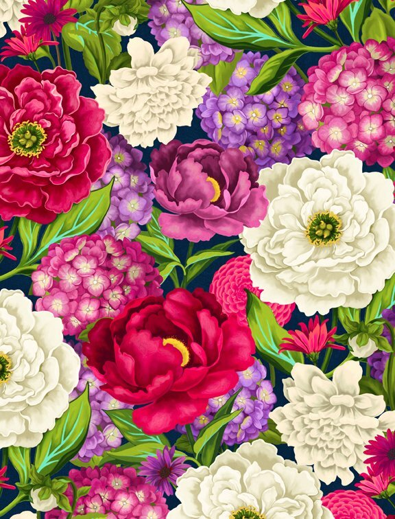 Floral Serenade - Wilmington Fabrics- 1/2m cut 56373