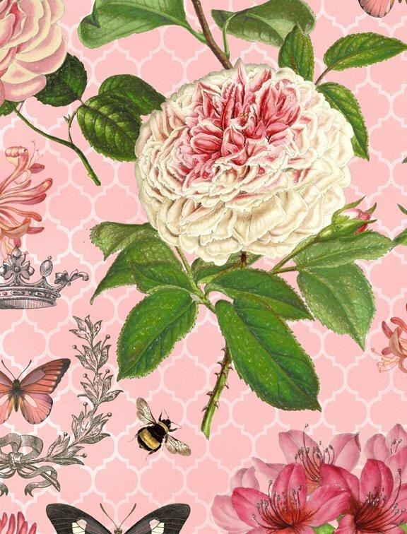 Le Bouquet - Pink - Wilmington Fabrics- 1/2m cut 56374