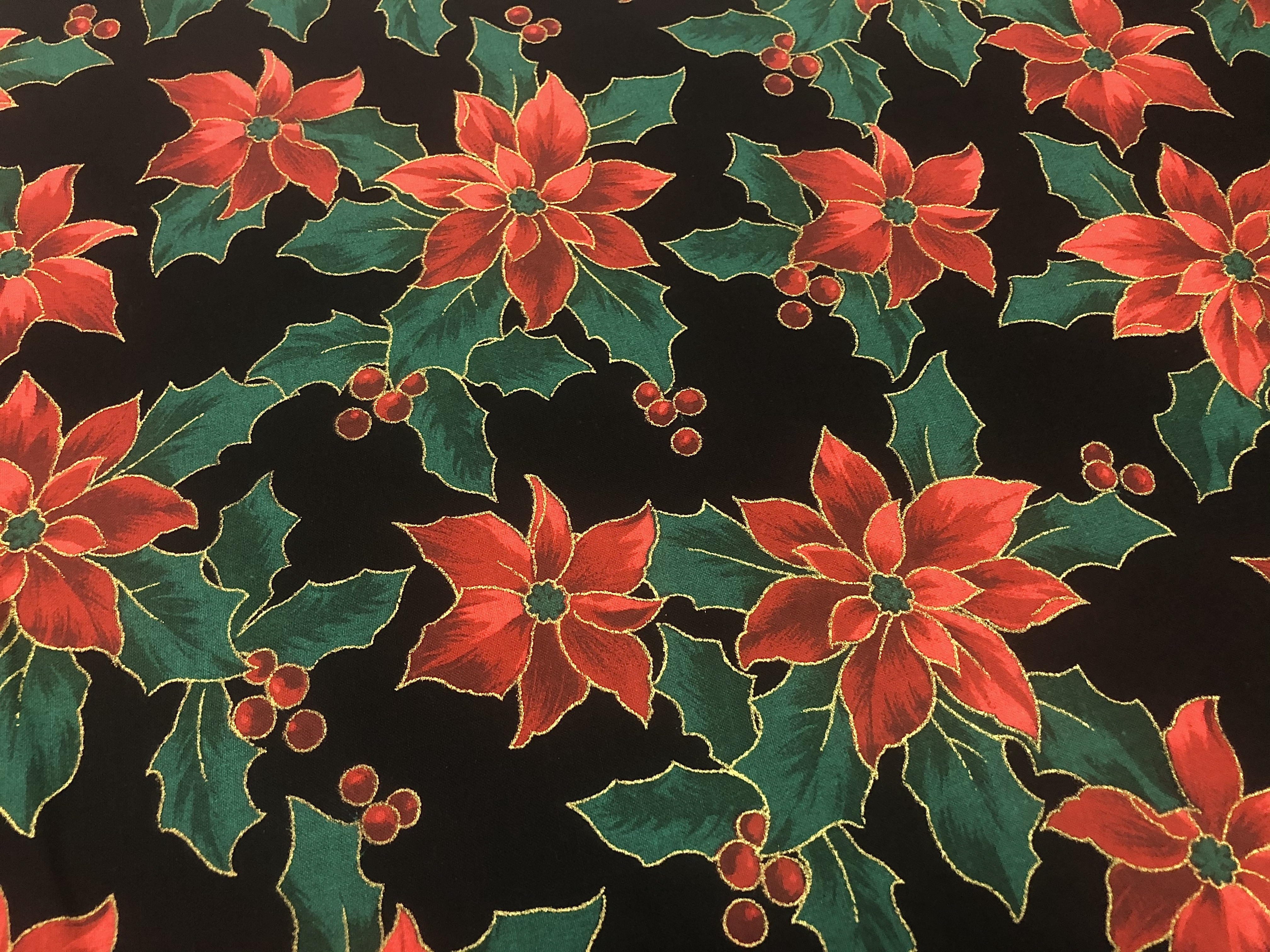 Merry Christmas Metallics - Red Poinsettias on Black - 1/2m cut 56384