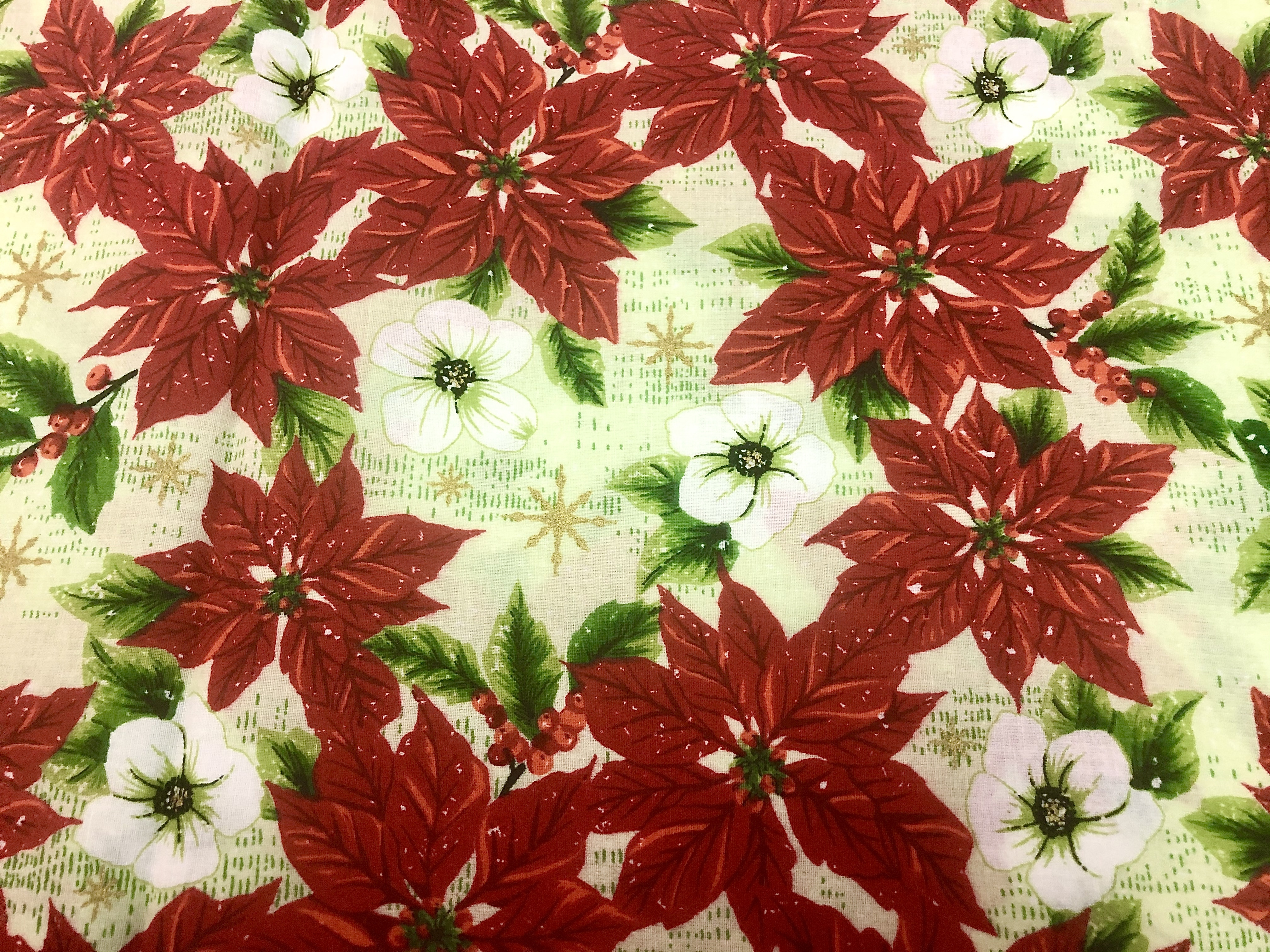 Merry Christmas Metallics - Red and White Poinsettias - 1/2m cut 56383