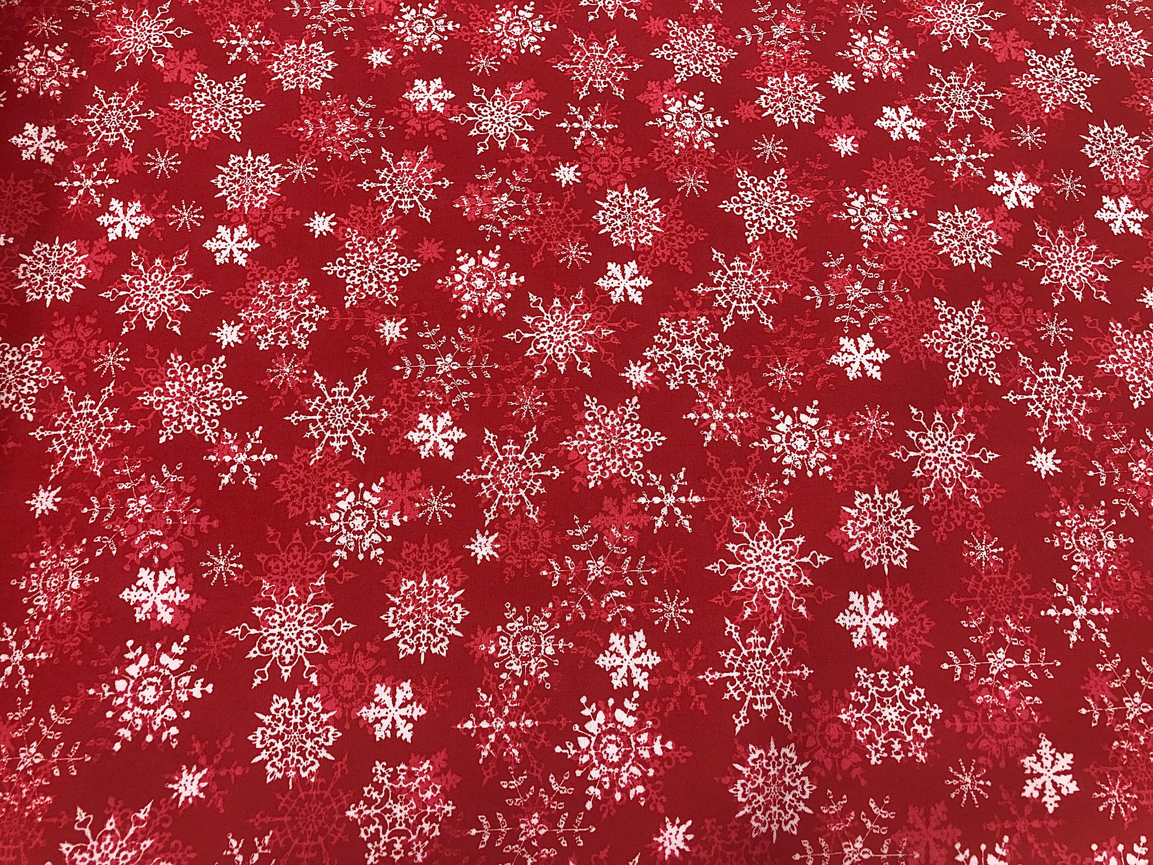 Merry Christmas Basics - Red Snowflakes - 1/2m cut 56382