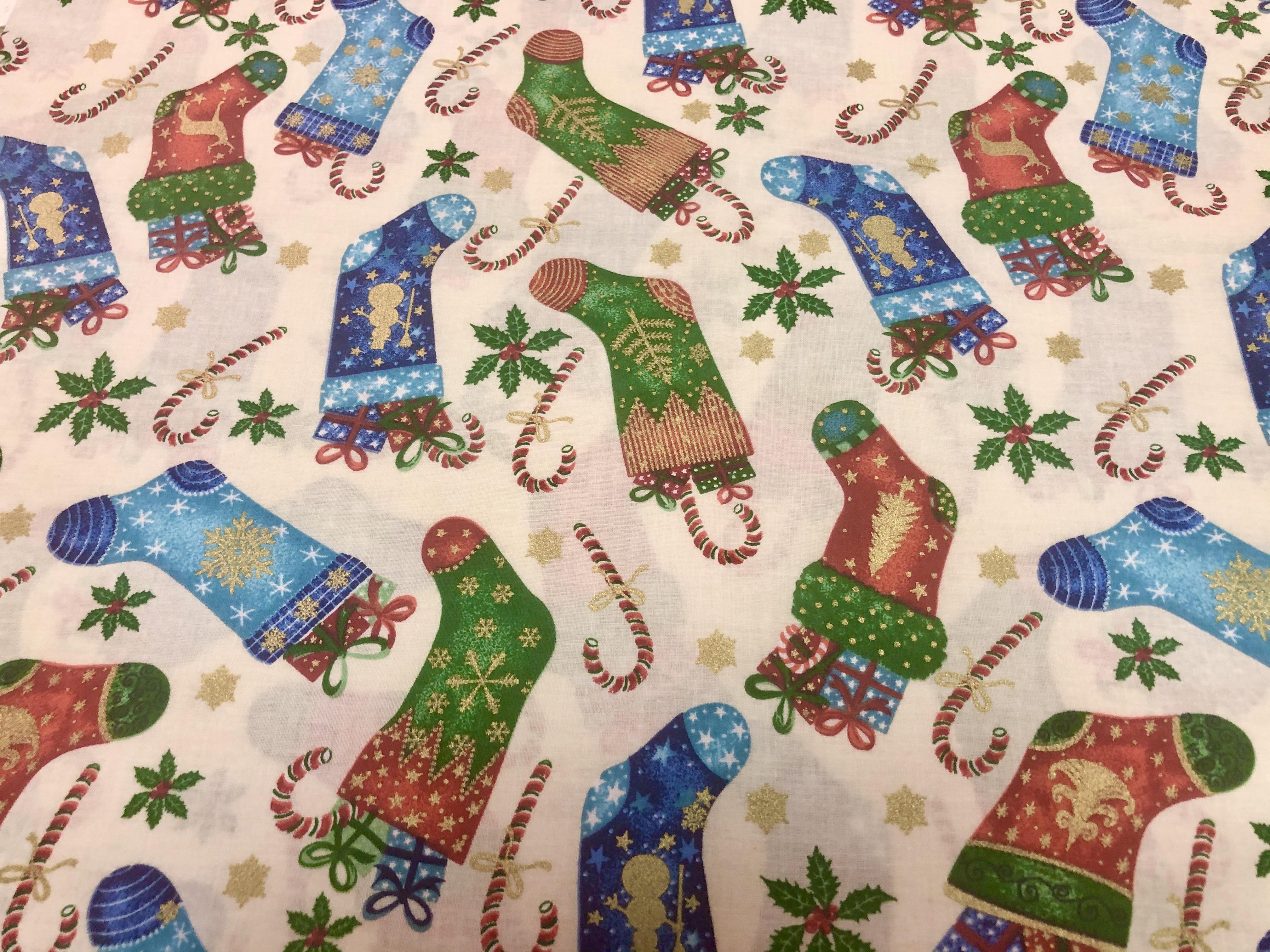 Merry Christmas Metallics - Stockings - 1/2m cut 56385