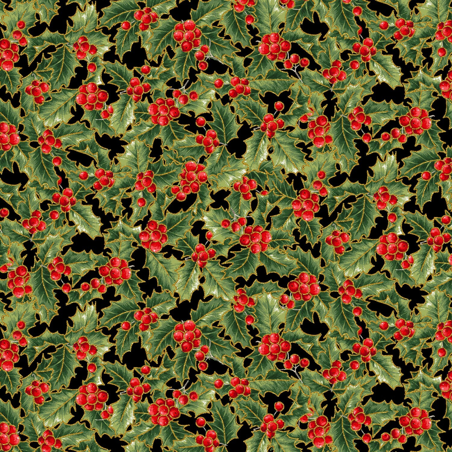 Holly and Leaves - 1/2m cut 56408