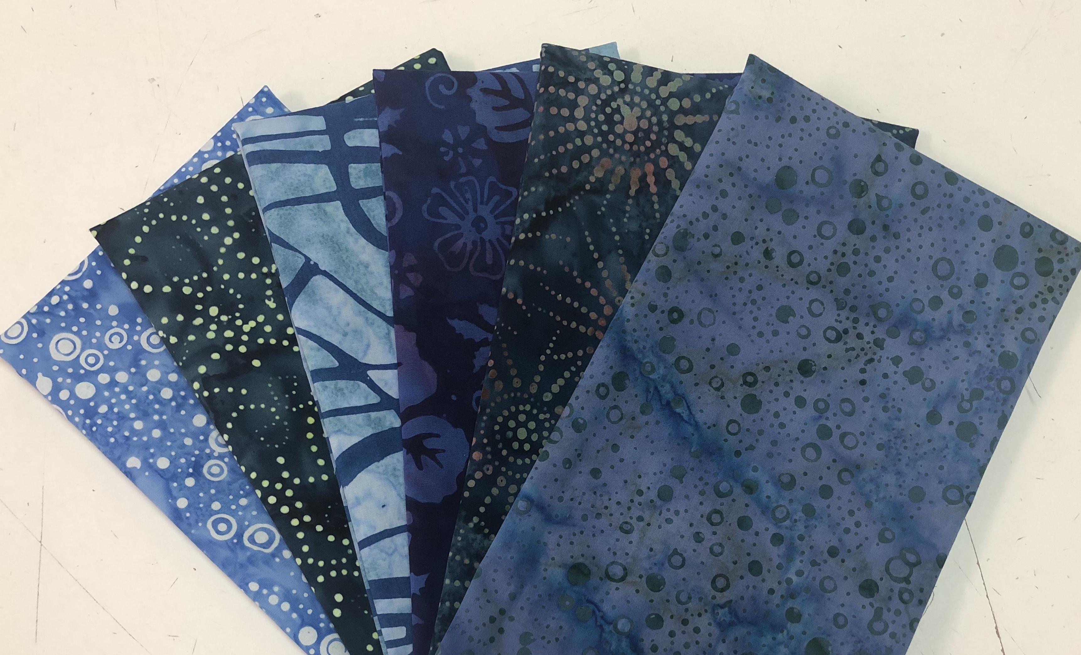 Blue/Navy Batik Fat Quarter Bundle (6 Pieces) 56412