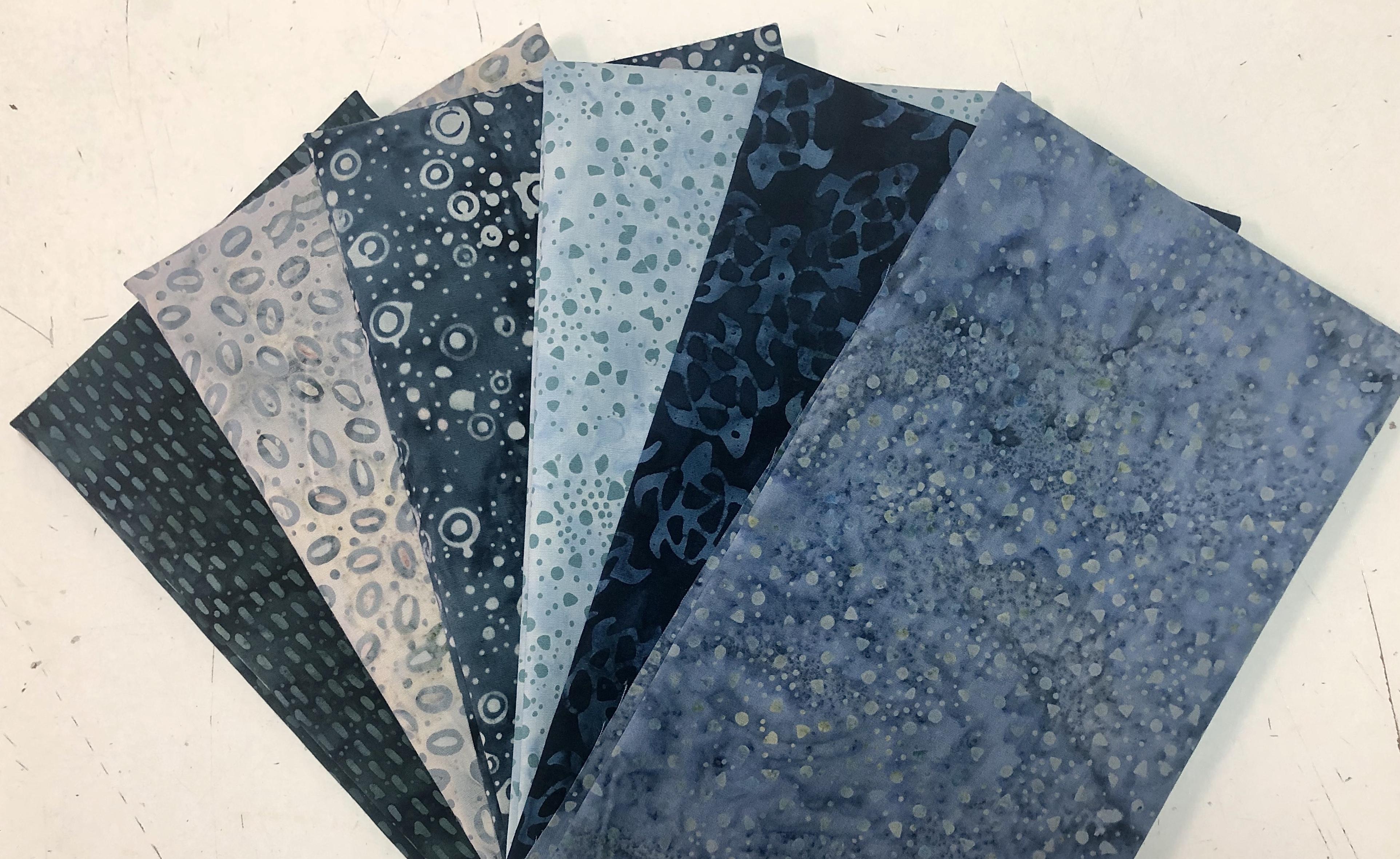 Blue/Grey Batik Fat Quarter Bundle (6 Pieces) 56414