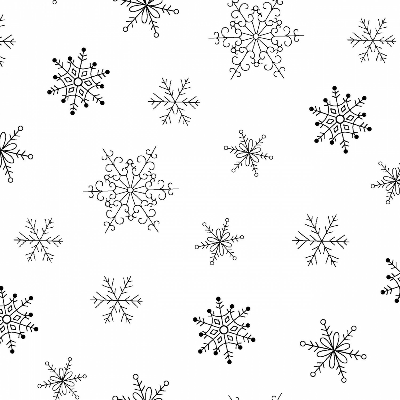 White Tone on Tone Snowflakes - 1/2m cut 56458