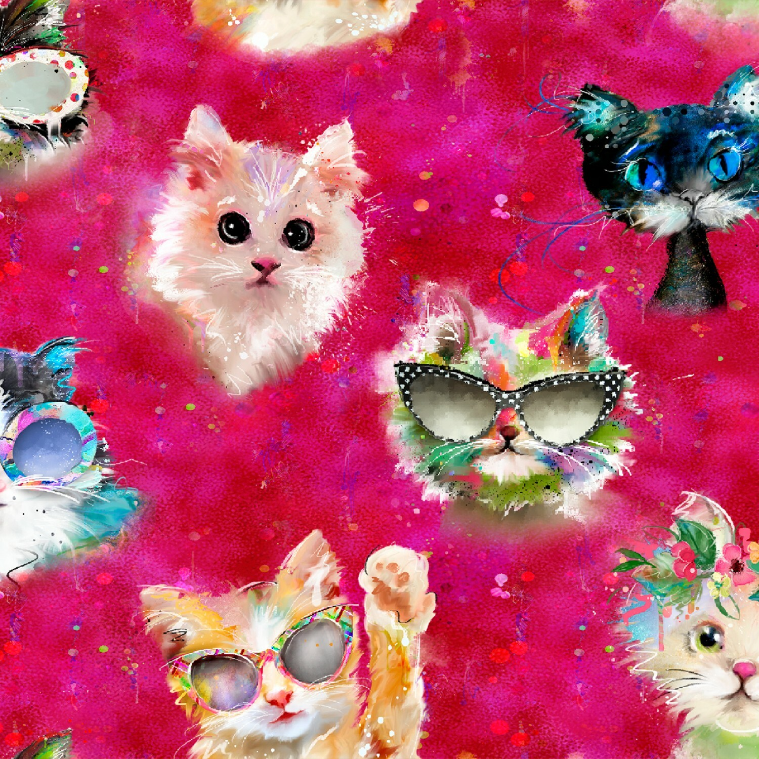 Pink Faces - Good Kitty - 1/2m cut 56501