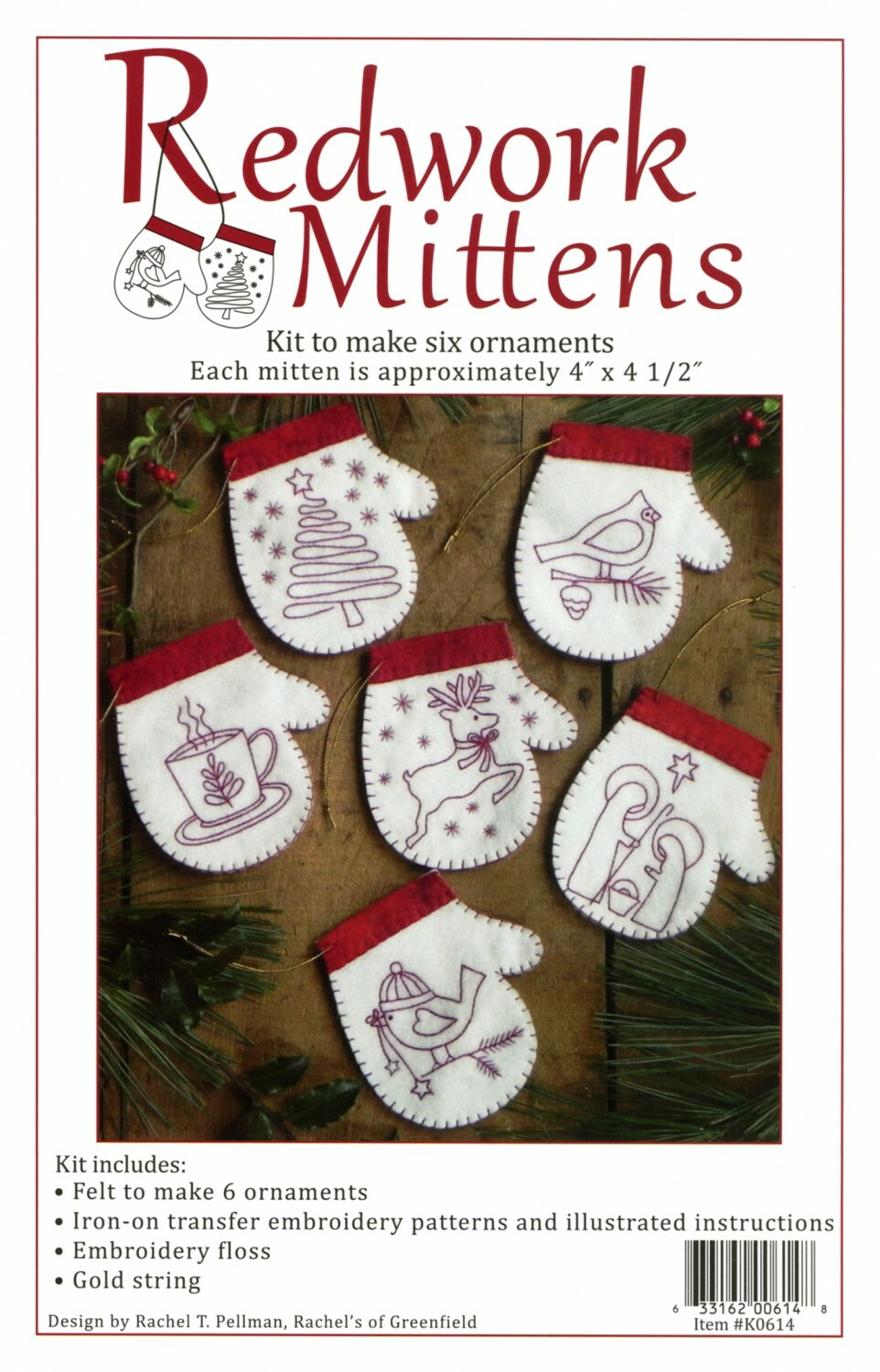 Redwork Mitten Ornament Kit 56544