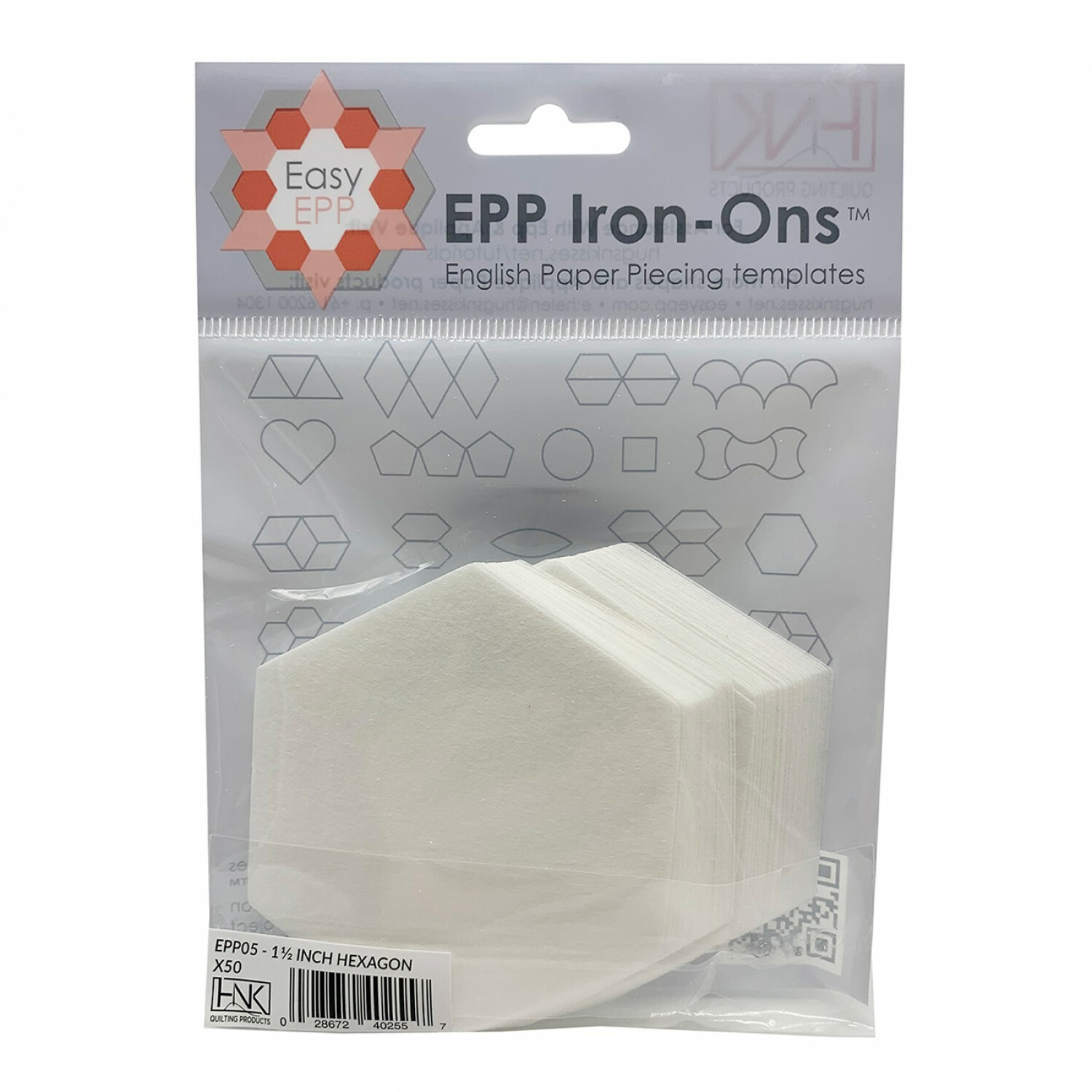 """English Paper Piecing Iron Ons - 1 1/2"""" Hexagons 56555"""