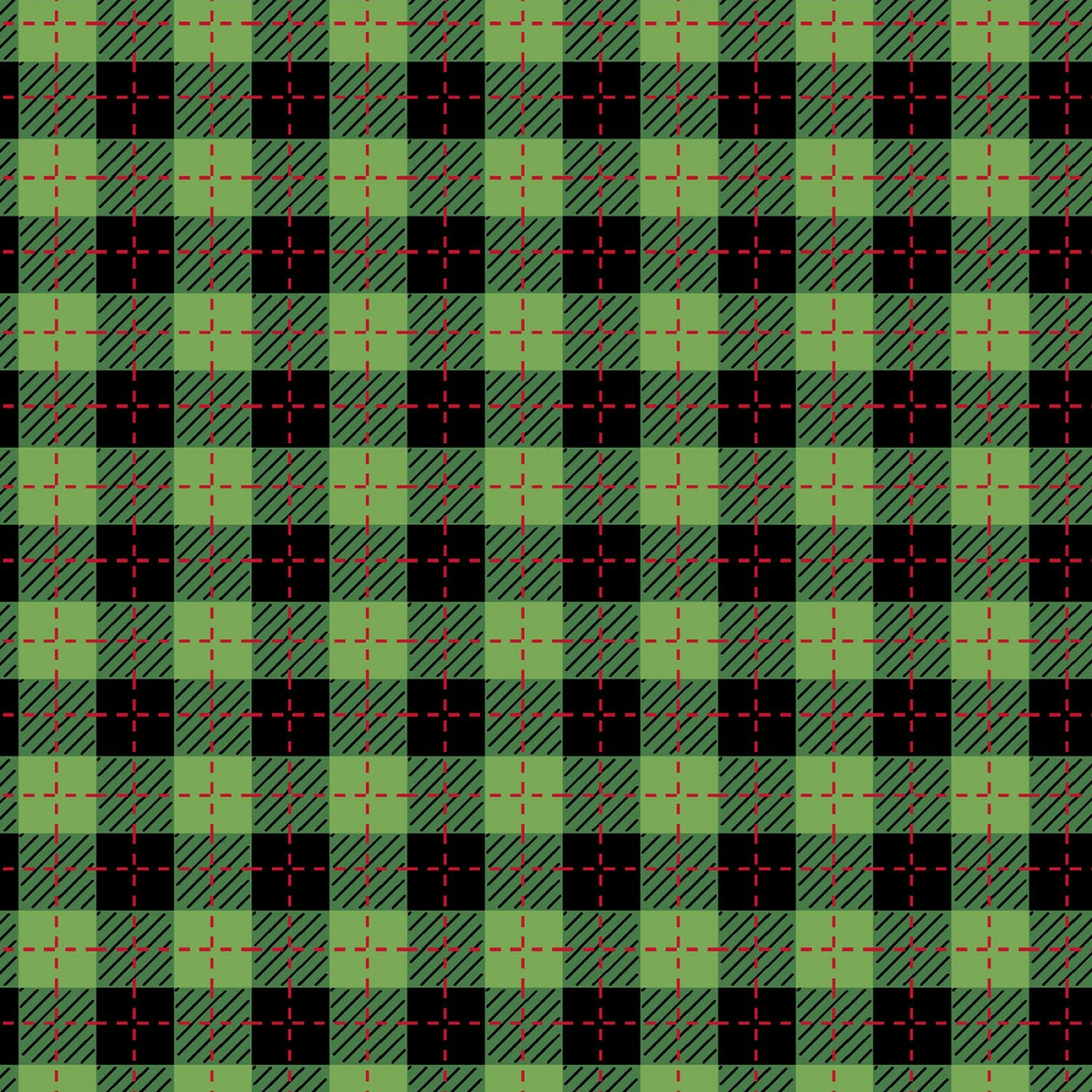 Green and Black Buffalo Plaid - We Whisk You A Merry Christmas - 1/2m cut 56625