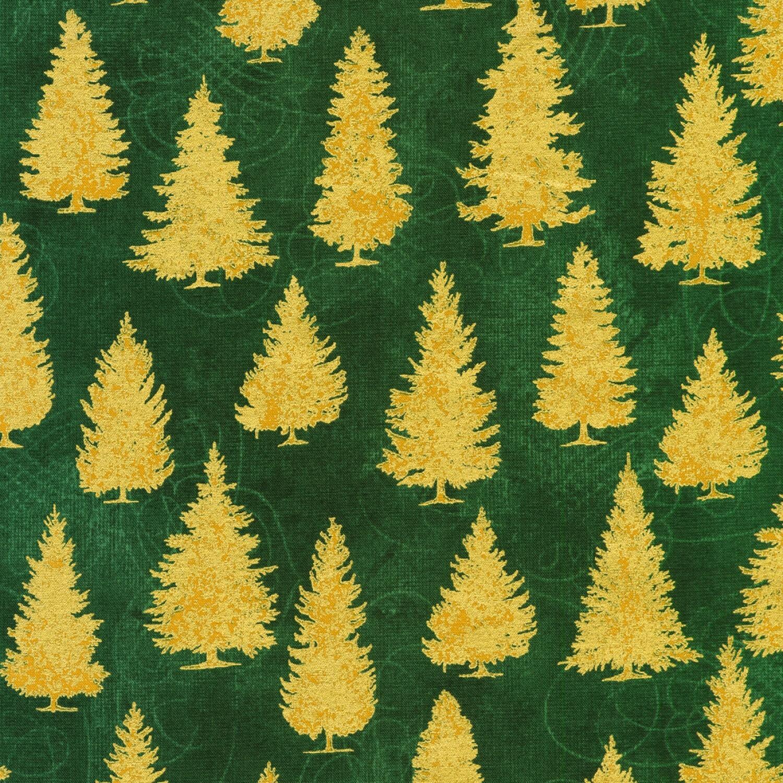 Gold Trees on Green - Winter's Grandeur 8 - 1/2m cut 56630
