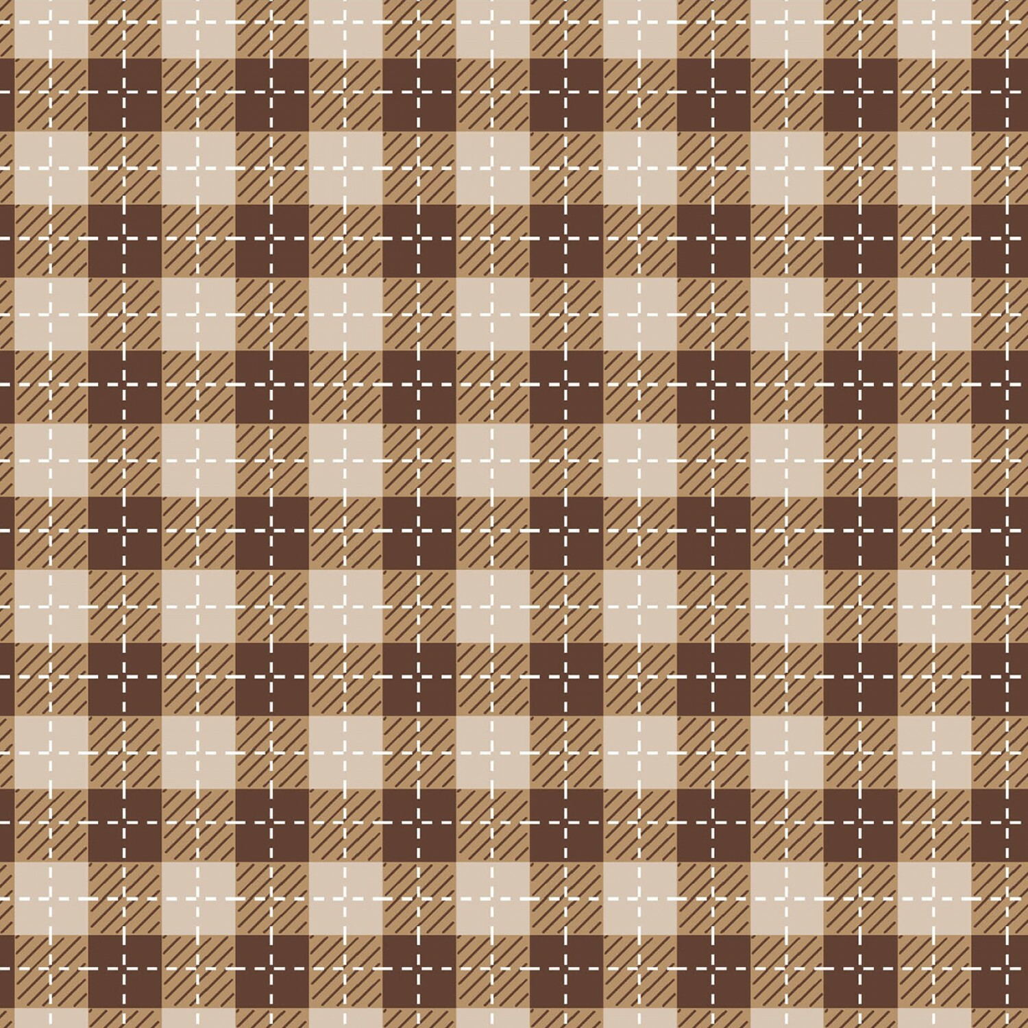 Tan and Brown Buffalo Plaid - We Whisk You A Merry Christmas - 1/2m cut 56627